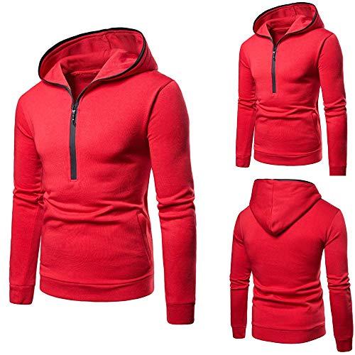OSYARD Herren Half-Zip Kapuzenpullover Hoodie, Langarm Herbst Winter Sweatshirt Pullover mit Kapuze Reißverschluss Kapuzenjacke Outwear (XL, Rot)