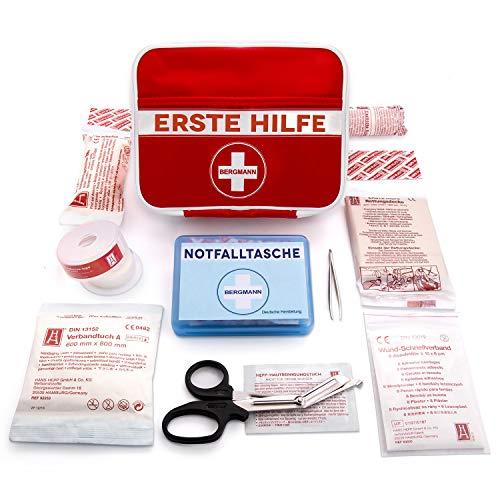 2-in-1 Erste Hilfe Set (100 Deutsche Markeninhalte nach DIN-Norm) Pflaster Tasche für den Notfall - Mit Bonus Verbands-Kasten für Wandern, Reise, Zuhause, Kinder & Baby