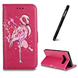 iPhone 7 Plus Case,iPhone 8 Plus 5.5 inch Wallet Case,Slynmax Ultra Slim Lightweight Bookstyle Glitter Flamingo Design Flip Phone Cover Folio Premium PU Leather Case with Stand Function Credit Card Holder Cash Pocket Magnetic Closure Durable Shockproof Protective TPremium PU Inner Smart Shell for iPhone 7 Plus/iPhone 8 Plus+ 89* Stylus Pen
