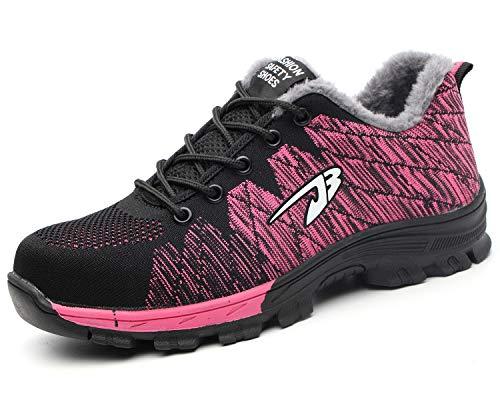 Tqgold uomo donna scarpe da lavoro invernali caldo pelliccia scarpe antinfortunistiche con punta in acciaio scarpe sportive di sicurezza (rosa,38 eu)