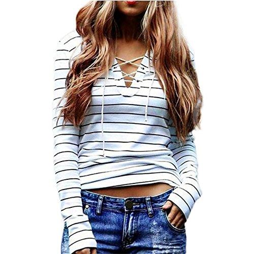 Damen Sweatshirt,Dasongff Herbst Frauen V-Ausschnitt Kordelzug Streifen langarm Oberseiten T-Shirt Sexy Bluse Sweatshirt Tops (L, Weiß) (Kordelzug V-ausschnitt)