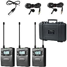 COMICA CVM-WM300 UHF de 96 canales de metal inalámbrico Sistema de micrófono doble con 2 transmisores y 1 receptor portátil 394 pies (121 m) de grabación suave sin staccato para cámara DSLR y videocámara Vídeo