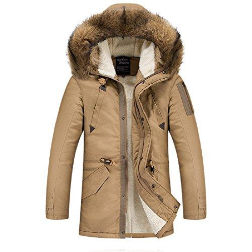 BOMOVO Herren Outdoor Hooded Daunenmantel Mantel Parka Winter Nagymaros Kragen Jacke Braun