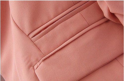 Blansdi Veste de tailleur - Blouson - Uni - Col Chemise Italien - Manches Longues - Femme -Chic-Slim Rose
