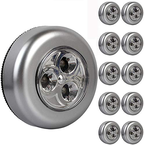ShenShuai 10er-Set Stick&Push LED Touch Lampe Nachtlicht Leuchten Batteriebetrieben selbstklebend Küchenlampen Schrankleuchten (Silber-10pcs)