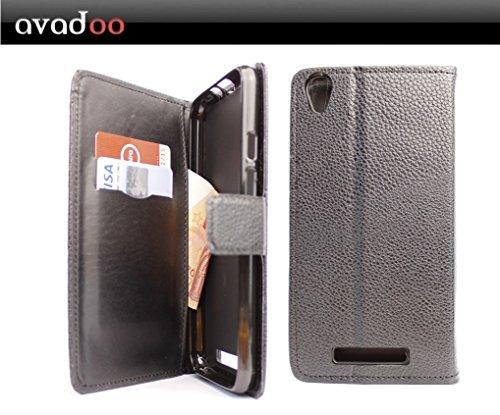 avadoo® Archos Core 55 4G Flip Case Cover Tasche Schwarz mit Magnetverschluss und Dualnaht als Cover Tasche Hülle