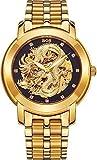 Angela BOS Orologio Drago Cinese meccanico, impermeabile, orologio da polso, quadrante nero, cinturino in acciaio INOX.