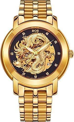 Angela Bos - Reloj mecánico para hombres, diseño de dragón chino, resistente al agua, correa de acero inoxidable