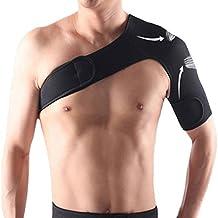 F-Fook : Soporte elástico para hombro ajustable, unisex, un solo hombro, con cinturón, color negro, Right Shoulder