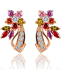 Fresh Vibes | 18K Rose Gold Plated Multi-color CZ Crystal Earrings For Women | Womens Flower Leaves Party Wear...
