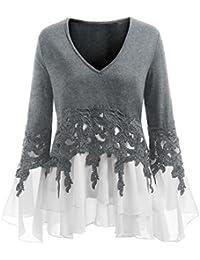 a98d6cae80c49 Trada Chiffon Bluse, Mode Frauen Casual Applique Flowy Chiffon V-Ausschnitt  Langarm Bluse Tops Elegant Bluse V…