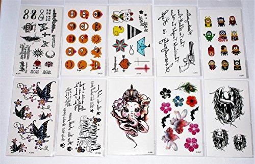 Wolga-creativo tattoo set 10arco come principale immagine piuma smily elefante comic farfalla fiore gatto croce tatuaggi temporanei (temporaneo trasferimento schermo, delicato sulla pelle)