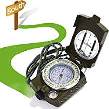 XCOZU Military Compass, Army Compass Waterproof Lensatic Compass Prismatic Compass Geology with Compass Pouch Lanyard and User Guide, Sighting Compass Navigation for Walking Hunting Hiking Camping