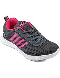 Asian shoes Butterfly-13 Dark Grey Rani Pink Women Sports Shoes