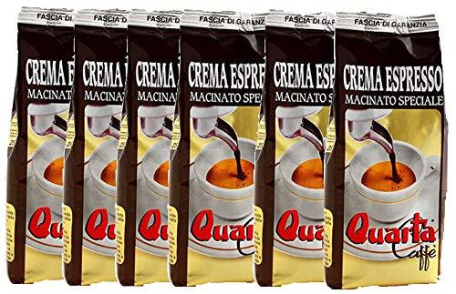 Caffè Quarta Crema Espresso macinato speciale. N. 6 confezioni da 250 g. Caffè italiano pugliese salentino prodotto e confezionato in...