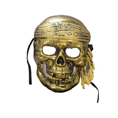 d Maske Horror Scary Skeleton Piraten Halloween Party Bar Kostüm Masquerade Maske (golden) (Halloween Scary Skeletons)