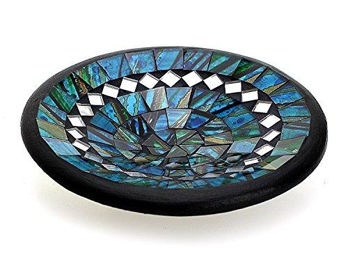 Mosaikschale Tonschale rund Ø 15 cm aus Ton mit Glasmosaik blau grün türkis, Dekoschale Mosaikstein belegt, Mosaik Stein Schale Dekoteller Teller -