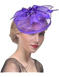 Yujeet Mujeres Transparente Elegante Flor Forma Sombreros Y Tocados Llanura  Tejer Pluma Novia Headwear Para La 81eb55ffd952