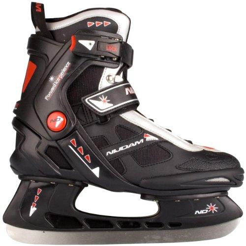 Nijdam Erwachsene Eishockeyschlittschuhe Icehockey Skate, Mehrfarbig (Schwarz/Silber/Rot), 45