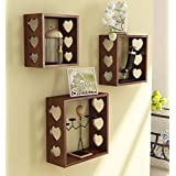 Home Sparkle Sh697 Wall Shelf, Set of 3 (Lacquer Finish, Brown)