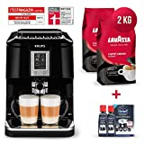 Krups Kaffeevollautomat Testsieger Megapack 2x 1 Kg Lavazza Caffe Crema Classico Kaffeebohnen Kaffee + 2x 125ml durgol swiss espresso Spezial-Entkalker (Kaffeemaschine mit Two-in-One-Touch Funktion)