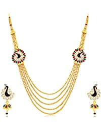 Sukkhi Youthful 5 String Peacock Gold Plated Long Haram Necklace Set For Women