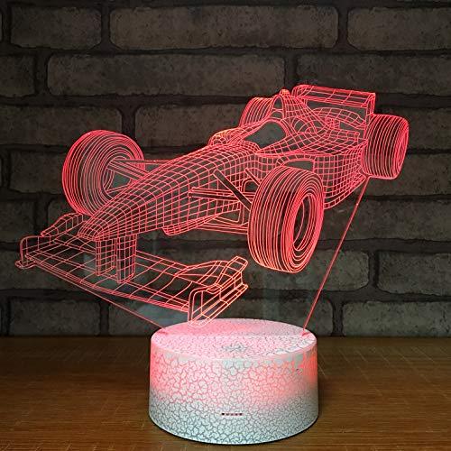 3D Illusione Ottica Led Lampada di Illuminazione Luce Notturna 7 Colori con Acrilico USB Batteria Notturna Touch Control Crack Base Racing Car Controllo Remoto