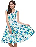 Grace Karin 50s Rétro Rockabilly robe vintage Audrey Hepburn Schwingen pinup Fleurs Impression Party Vêtements -  - XL