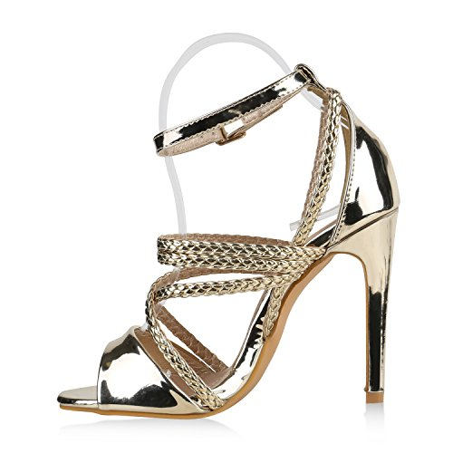 Damen Sandaletten | Plateau Sandaletten Strass | Stiletto Cut-Outs Schuhe | Party High Heels Metallic Lack | Partyschuhe Veloursleder-Optik Gold Gold Lack