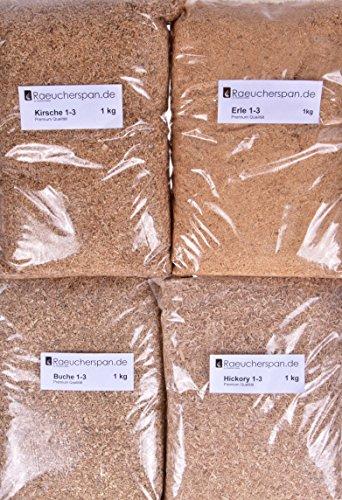 Räuchermehl Räucherspäne Buche, Erle, Hickory, Kirsche mittelfeine Körnung Typ 7 Feinschmeckerpaket (Kirsche Erle)