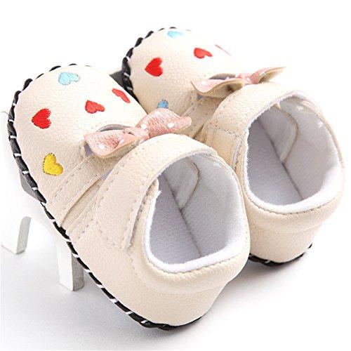 Confortables et Belle Tout-petits Chaussures Souples et Antidérapant Filles Chaussures Premiers Pas avec Décoration de Bowknot et Cœurs, 0-18 mois (Blanc, L) coloré