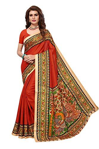 Peegli Saree Donne Indiane Arancione Sari Khadi Seta Tradizionale Kalamkari Nuovo Sari