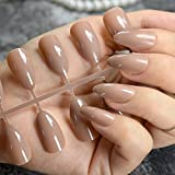 Pure Braun Candy Nail Art Tipps mittlere Design Almond Kit Stiletto Sharp Press on Nägel für Frauen tragen Fake Nail Zubehör p57p