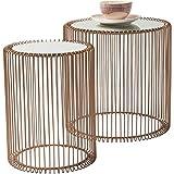Beistelltisch Wire Copper 2er Set, Kupfer, runder, moderner Glastisch, kleiner Couchtisch, Kaffeetisch, Nachttisch, (H/B/T) 42,5xØ32,5cm & 45xØ44cm
