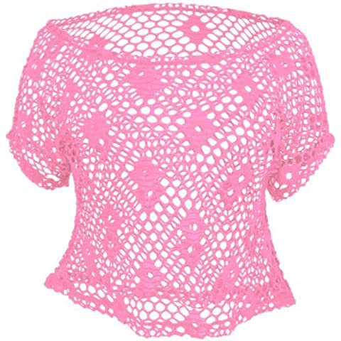 Urban Classics TB689 Ladies Short Mesh Top Maglia Regular Fit Donna S Neon Pink Rosa