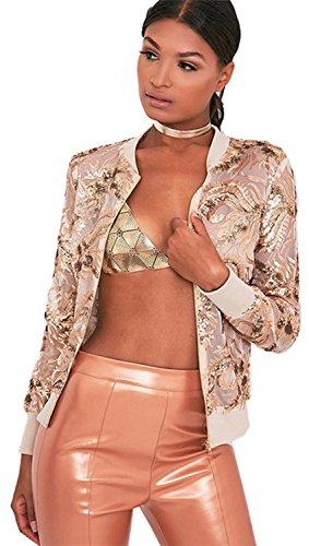 Reißverschluss Zip Vorne Gold Foil Blumen Embroidery Open Spitze Netz Bomberjacke Blouson Jacket Jacke Oberteil Top Beige