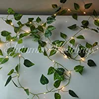 Extra Long Ivy Fairy Lights/String Lights - 4m 40 LED - Wedding Decorations - AA Battery Powered - Warm White - Indoor Leaves - Ivy Garland with Lights - Fairy Lights Bedroom - Leaf Fairy Lights