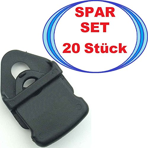 20 Stück Holdon Clip MINI schwarz, Banner-Planen-Spanner-Clip, Planen-Öse Universal-Easy-Clip-Klipp
