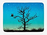 EJjheadband Owls Bath Mat, Owl in Naked Winter Tree Under Night Sky with Stars Grass Goodnight Artwork, Plush Bathroom Decor Mat with Non Slip Backing, 29.5 W X 17.5 W inches, Blue Turquoise Black