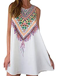 JXLOULAN Mujer ocasional estilo bohemio mini vestido floral de la playa vestidos sin mangas de gasa