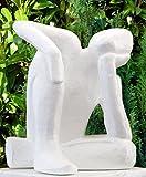 Tiefes Kunsthandwerk Steinfigur Träumer in Weiss, abstrakte Deko-Figur für Haus und Garten, moderne Statue als Garten-figur