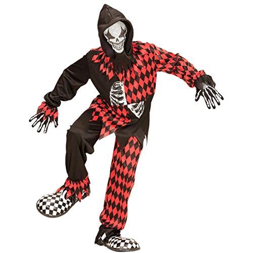 Imagen de traje halloween arlequín  159  164 cm, 14  16 años | disfraz infantil payaso asesino | traje clown malo | disfraz niño bufón malvado alternativa