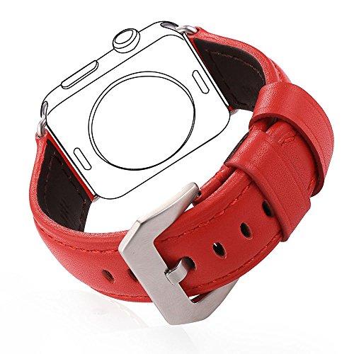 Bandmax Cinturino di Scambio in Pelle Vera per Apple Watch Tutti i Modelli, Pelle Liscia Rossa 42 mm Fibbia Acciaio Inossidabile Colore Argento Cinturino Sportivo (Rosso)