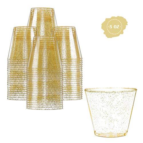 Prestee Einweg-Becher aus Kunststoff, 150 ml, 100 Stück, mit goldfarbenem Glitzer-Design – strapazierfähige Gläser für Partys und Veranstaltungen – langlebig und wiederverwendbar, von Prestee Glas Punch Cup