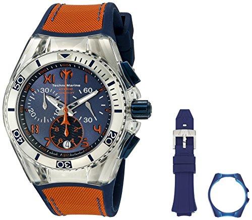 Technomarine Unisex 40mm Bracelet Silicone Rouge Boitier Acier Inoxydable Quartz Cadran Bleu Montre 115020