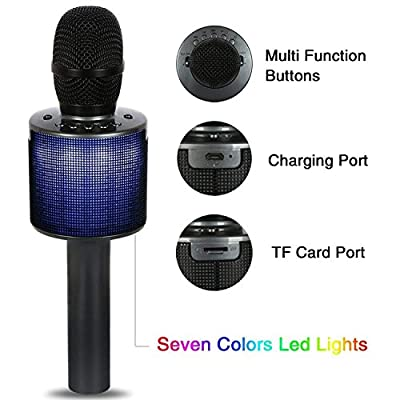 Wireless Microphone Karaoke, Hizek Wireless Bluetooth Karaoke Recording and Speaker Microphone with LED Light for Kids Home Family Party or Speaker Holder,Portable Hand Speaker Stereo Player KTV Karaoke Mic for iPhone/Android/iPad/Sony/TV