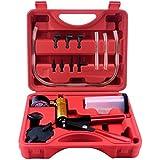 QSICISL Hand Held Vacuum Pump Tester Set Vacuum Gauge and Brake Bleeder Kit for Automotive with Adapters Case Metal handle