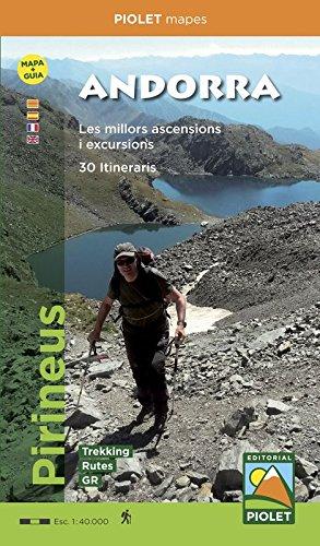 Andorra. 30 itinerarios. Mapa + guía de 48 páginas en 4 idiomas : catalán, castellano, francés e inglés. Piolet.