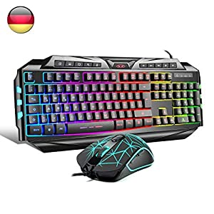 Gaming Tastatur und Maus Set LED Hintergrundbeleuchtung 19 Tasten Anti-Ghosting, Wired Keyboard PC/Laptop