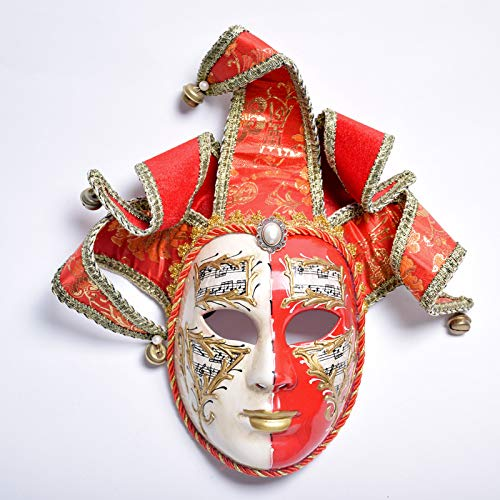 WDERYL Halloween-Maske, Venedig Premium-Diamant-Rot-Gold Yin Yang falsche